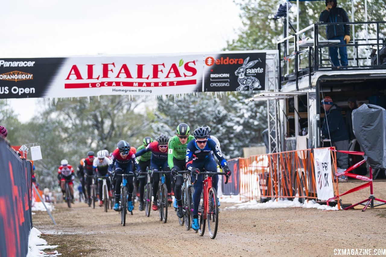 Garry Millburn leads the holeshot. 2018 US Open of Cyclocross, Day 2. © Col Elmore