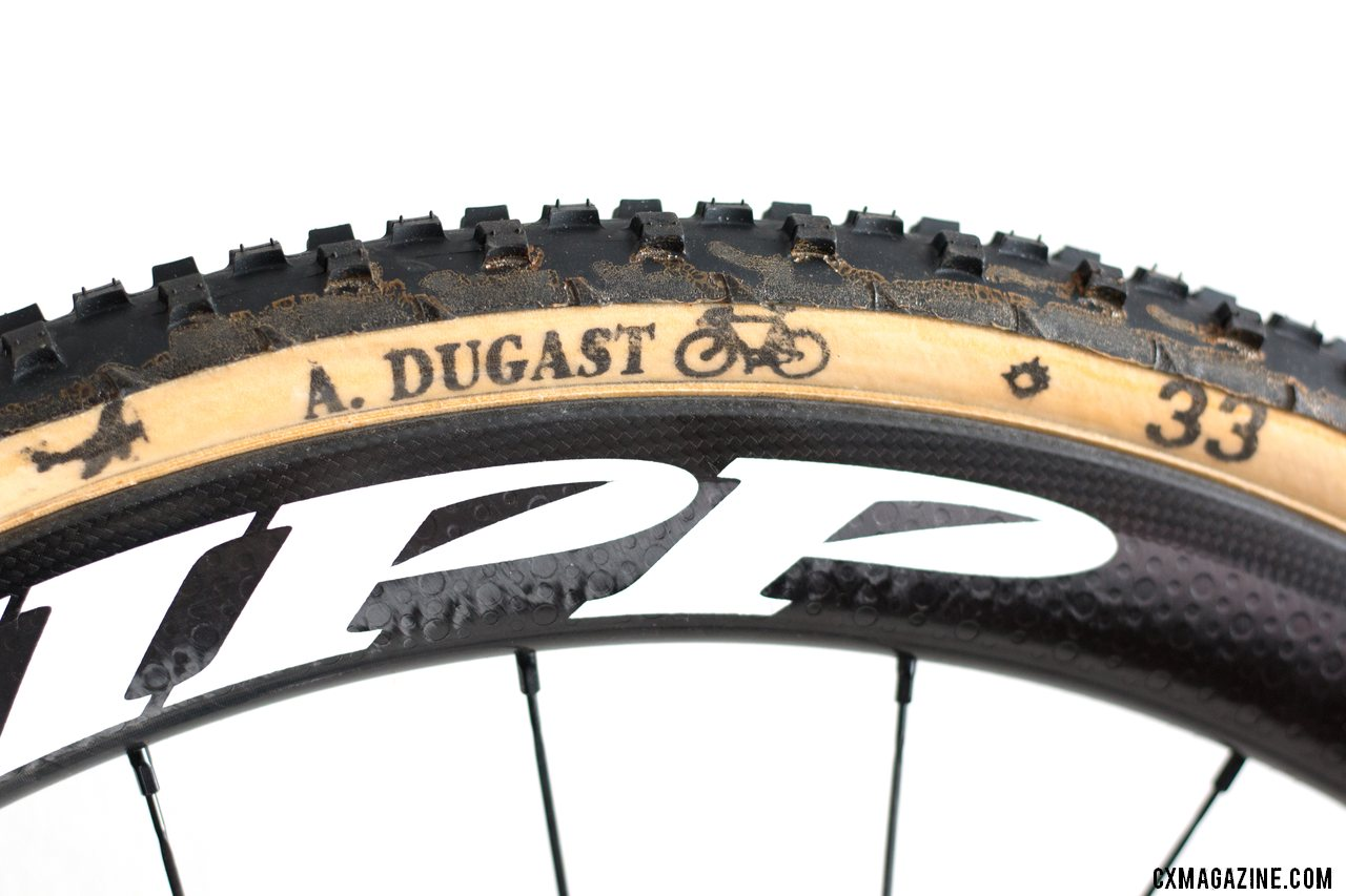 Dugast's Ernst mud tubular comes in cotton and Fyling Doctor casings, pre-treated with a neoprene sidewall sealing treatment. It's initially visible on a bit of the tread. © Cyclocross Magazine