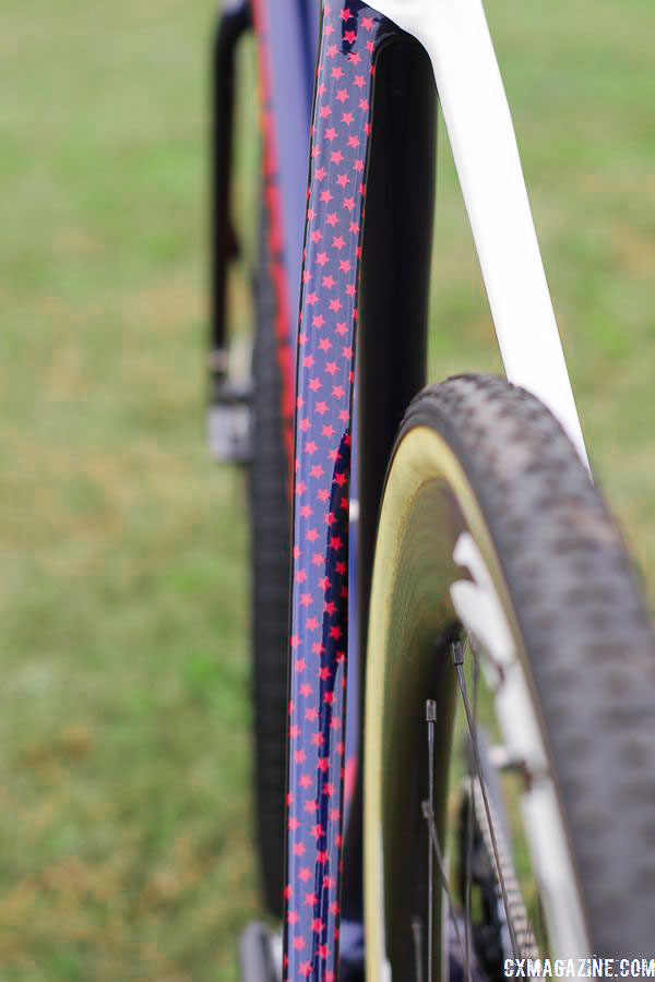 Chain stays on Bike 3 are blue and white with red stars. Stephen Hyde's 2018/19 Cannondale SuperX Cyclocross Bikes. © Z. Schuster / Cyclocross Magazine