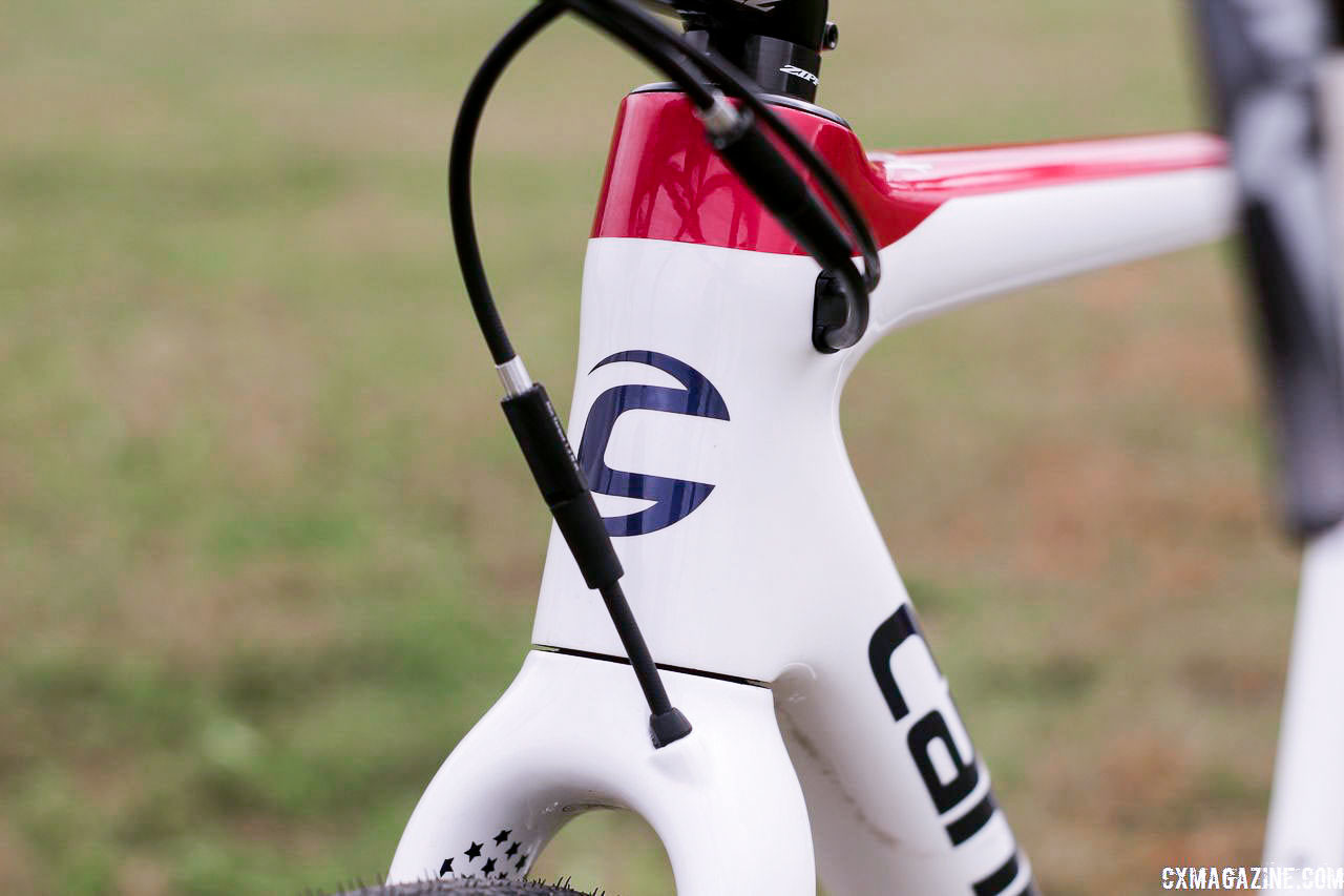 The white bike features a blue head badge decal. Stephen Hyde's 2018/19 Cannondale SuperX Cyclocross Bikes. © Z. Schuster / Cyclocross Magazine