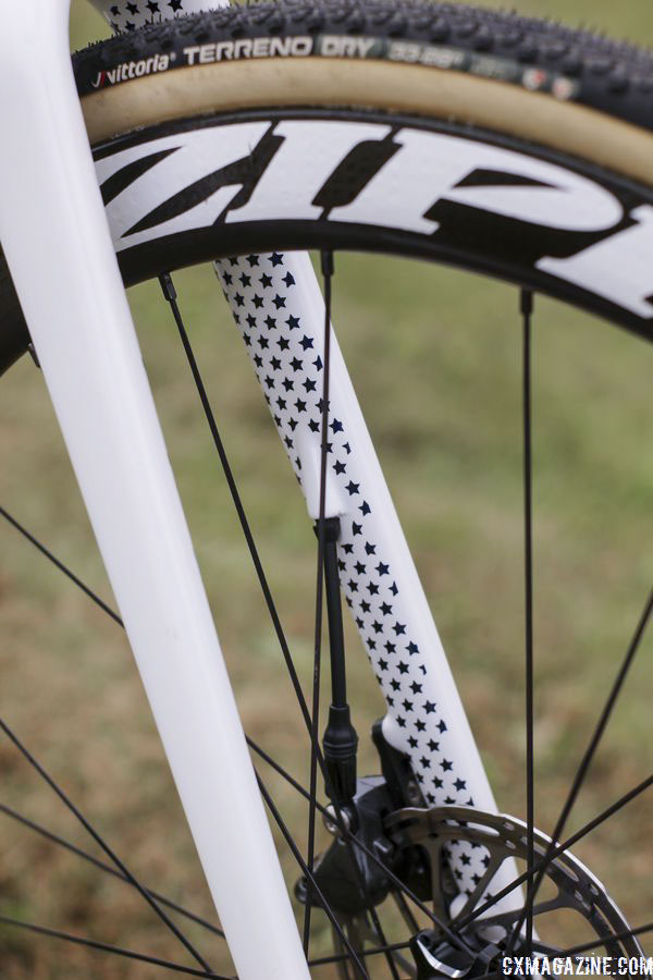 The carbon fork has internal cable routing. Stephen Hyde's 2018/19 Cannondale SuperX Cyclocross Bikes. © Z. Schuster / Cyclocross Magazine