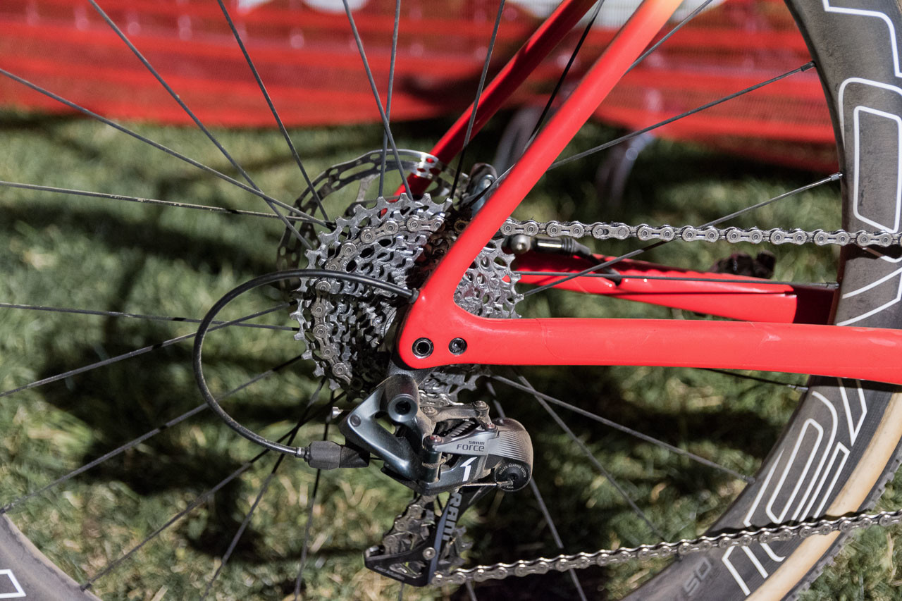 Rochette's Force 1 drivetrain was set up with an 11-32t cassette. Maghalie Rochette's winning Specialized Crux. Reno Cross 2018. © C. Lee / Cyclocross Magazine