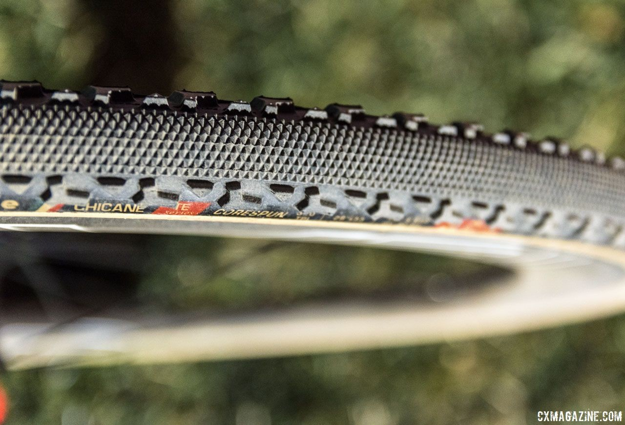Reno's dry course made for optimal file tread conditions. Maghalie Rochette's winning Specialized Crux. RenoCross 2018. © C. Lee / Cyclocross Magazine