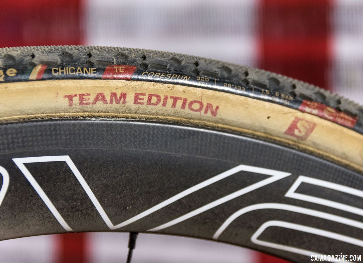 Rochette ran Roval CLX 50 disc tubulars with Challenge Chicane file treads. Maghalie Rochette's winning Specialized Crux. RenoCross 2018. © C. Lee / Cyclocross Magazine