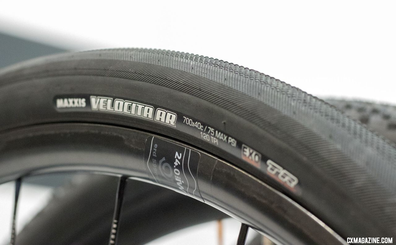 Maxxis added a new fast-rolling Velocita AR gravel tire, available in EXo and Silk Shield casings. It'll be a lighter, more supple alternative to the burly Refuse tire. New Maxxis cyclocross and gravel tires from 2018 Interbike. © Cyclocross Magazine