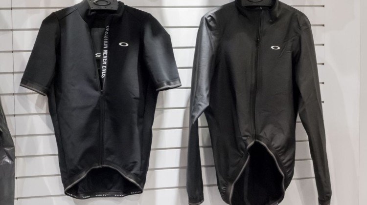 Oakley's lightweight waterproof jacket is a redesign of BioRacer's popular Rainy 2.0 jacket. Oakley's new road cycling kits. 2018 Interbike. © Cyclocross Magazine
