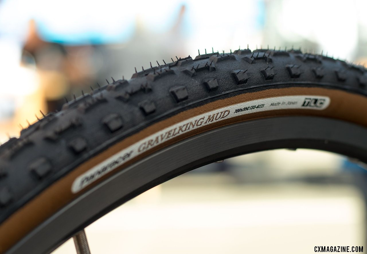 The Panaracer GravelKing Mud, the lighter version of the Regacross, is changing names to the GravelKing All Condtiions. New Panaracer cyclocross and gravel tires from 2018 Interbike. © Cyclocross Magazine