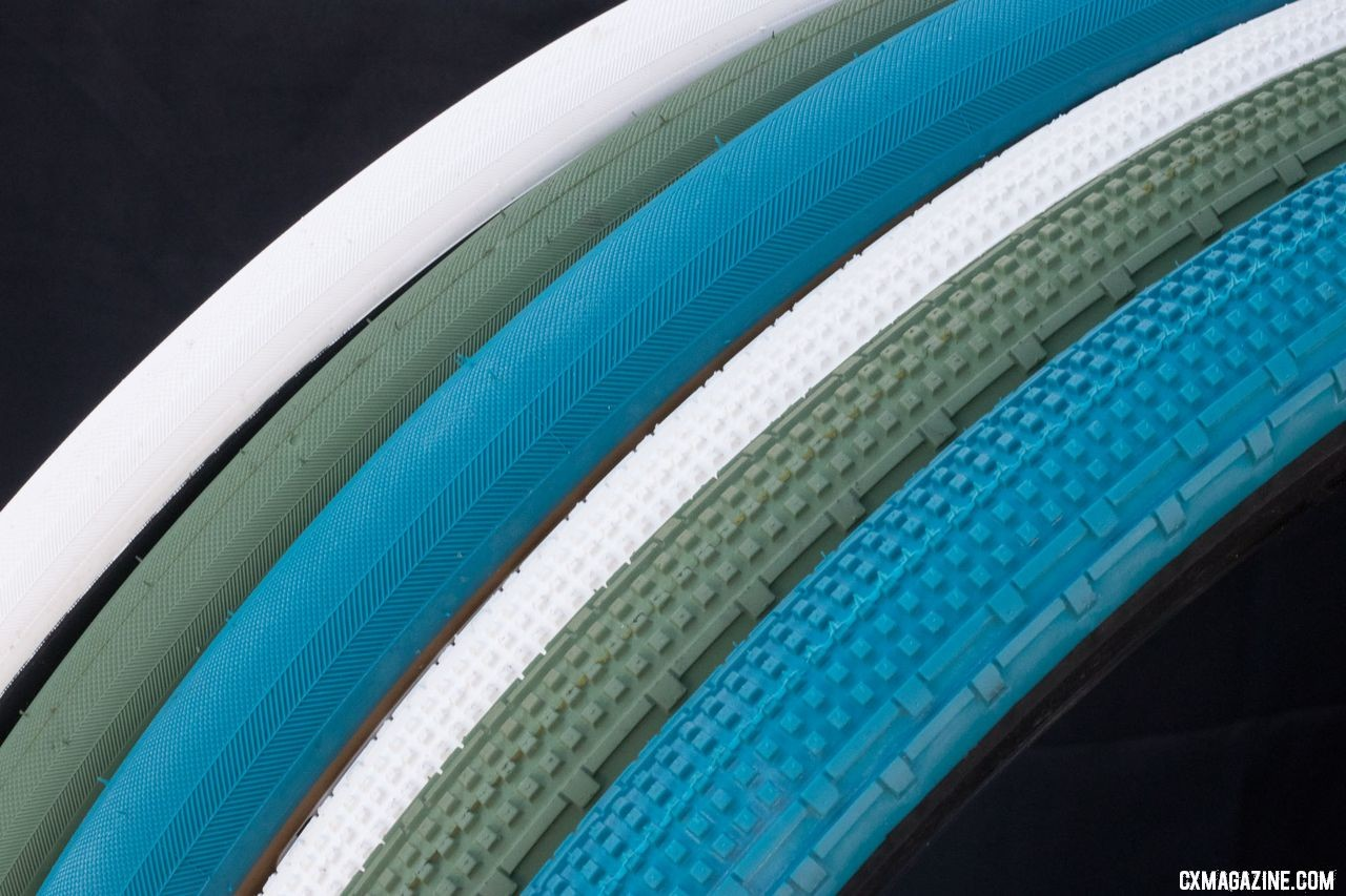 New Panaracer gravel tires come in three new tread colors and two sidewall colors, in limited quantities, shipping soon. 2018 Interbike. © Cyclocross Magazine