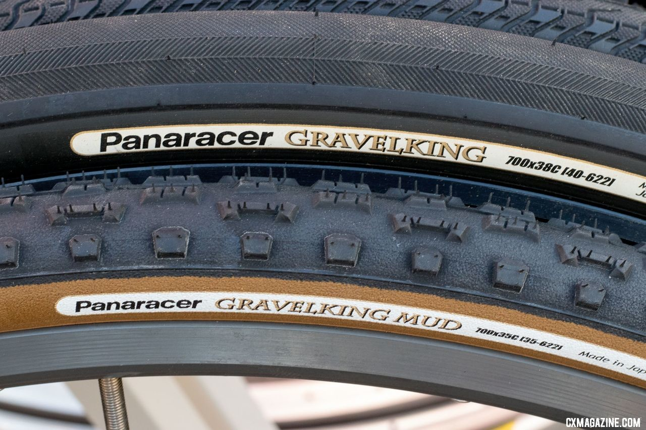 Panaracer has changed its labeled widths due to wider rims, but not the actual casing width. All gravel tires come in two sidewall colors. New Panaracer cyclocross and gravel tires from 2018 Interbike. © Cyclocross Magazine