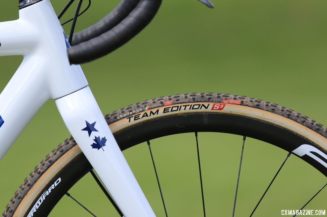 Challenge Team Edition S tires feature a higher thread count casing than the brand's other, more economical tubulars. Helen Wyman's Kindhuman Küdü, 2018 Trek CX Cup, Waterloo. © D. Mable / Cyclocross Magazine