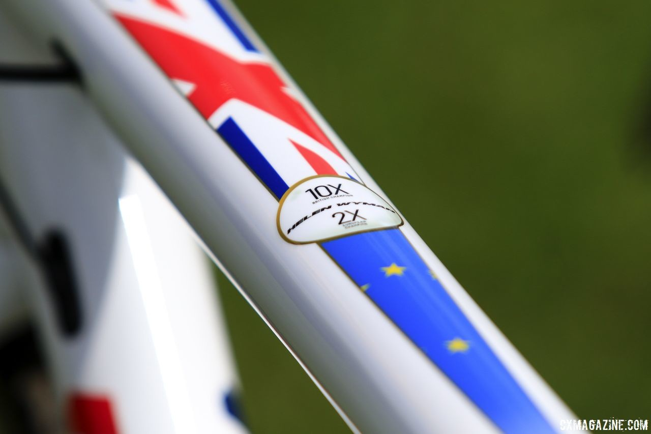Wyman's top tube pays homage to her 10 British national championships and 2 European championships. Helen Wyman's Kindhuman Küdü, 2018 Trek CX Cup, Waterloo. © D. Mable / Cyclocross Magazine