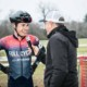 Eric Brunner scores the coveted post-race interview with Scott Herrman. 2018 Major Taylor Cross Cup Day 2. © Mike Almert, Action Images Indy