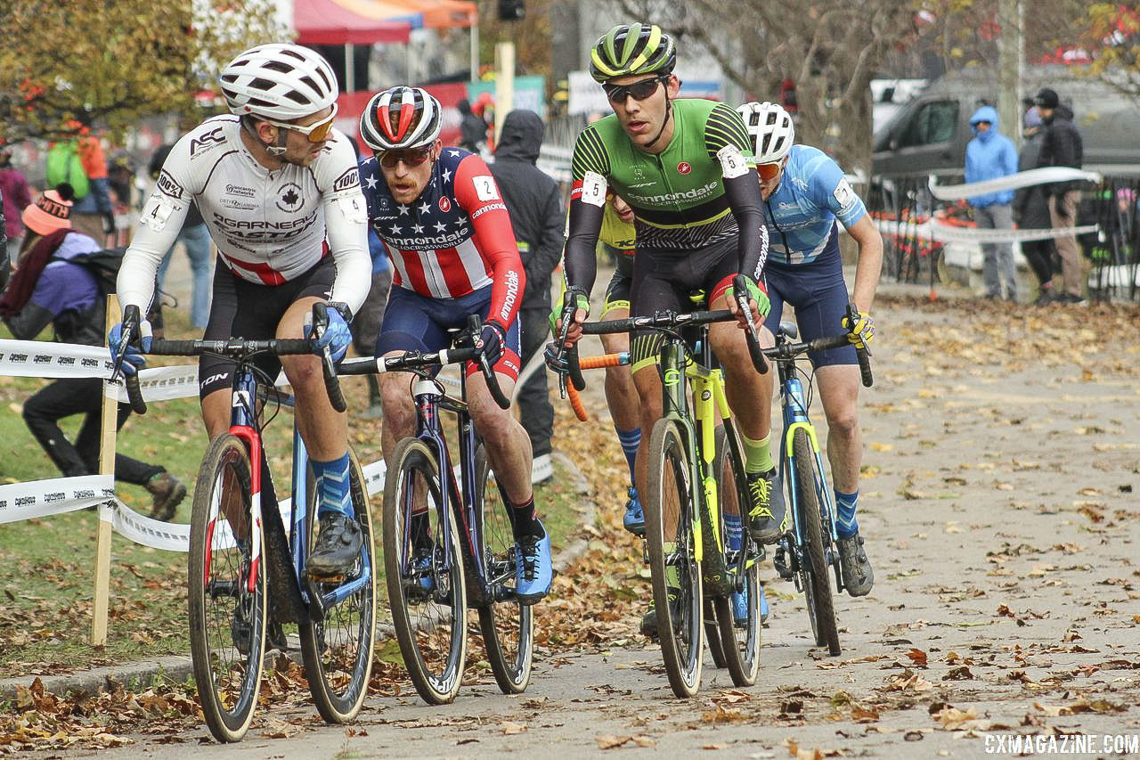 Once the group dropped to four in the Elite Men's race, there were some politics among the riders. 2018 Pan-American Cyclocross Championships, Midland, Ontario. © Z. Schuster / Cyclocross Magazine