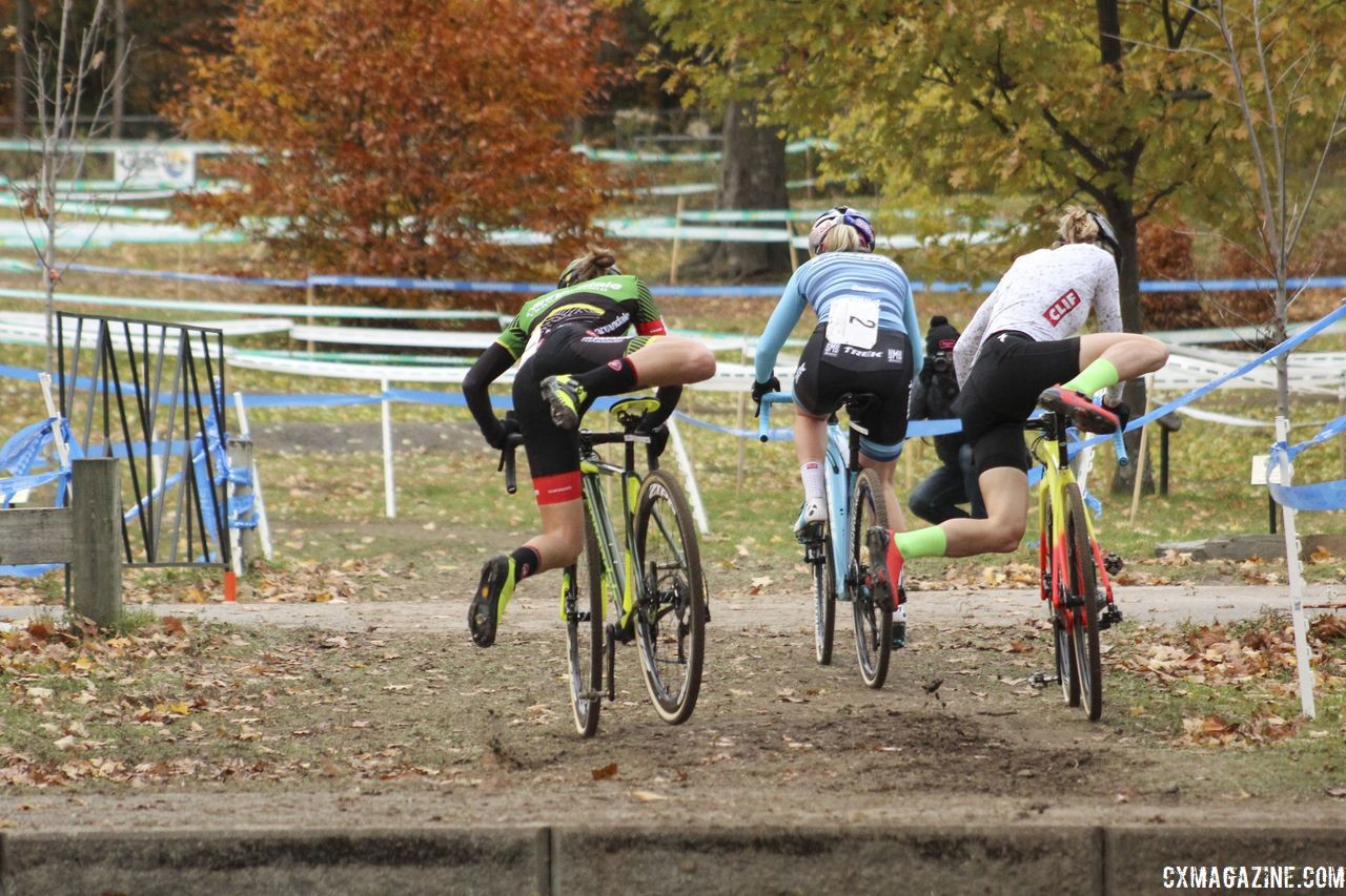 Noble, Keough and Rochette quickly went to the front of the race. 2018 Pan-American Cyclocross Championships, Midland, Ontario. © Z. Schuster / Cyclocross Magazine