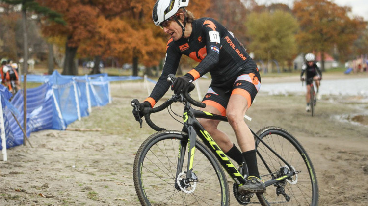 Corey Coogan Cisek rides the sand. 2018 Pan-American Cyclocross Championships, Midland, Ontario. © Z. Schuster / Cyclocross Magazine