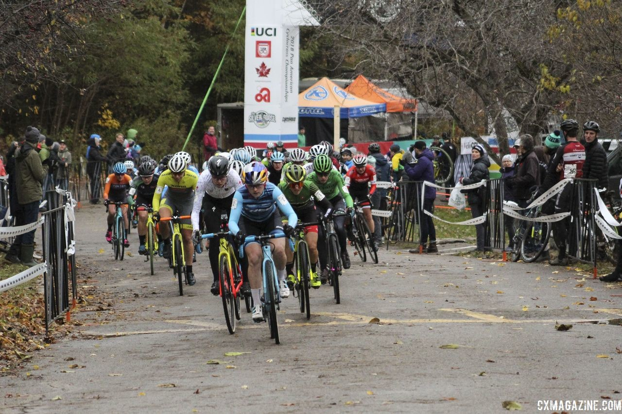 As she often does, Ellen Noble took the holeshot. 2018 Silver Goose Cyclocross UCI C2 © Z. Schuster / Cyclocross Magazine