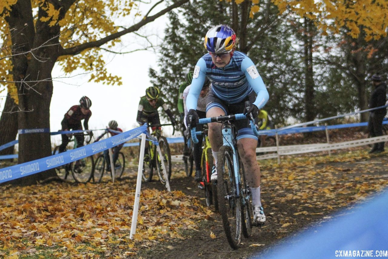 Shortly after this, Rochette dropped her chain and dropped way back. 2018 Silver Goose Cyclocross UCI C2 © Z. Schuster / Cyclocross Magazine