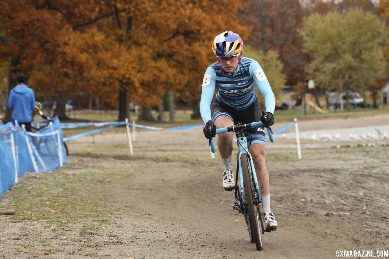 Ellen Noble spent most of the race solo en route to her seventh-straight win. 2018 Silver Goose Cyclocross UCI C2 © Z. Schuster / Cyclocross Magazine