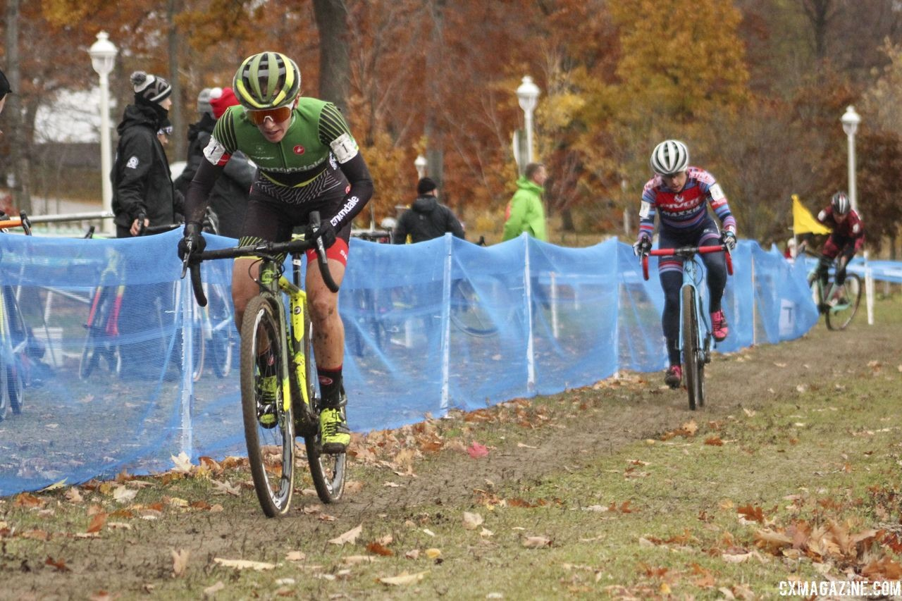 Keough and McFadden chased at the end of the first lap. 2018 Silver Goose Cyclocross UCI C2 © Z. Schuster / Cyclocross Magazine