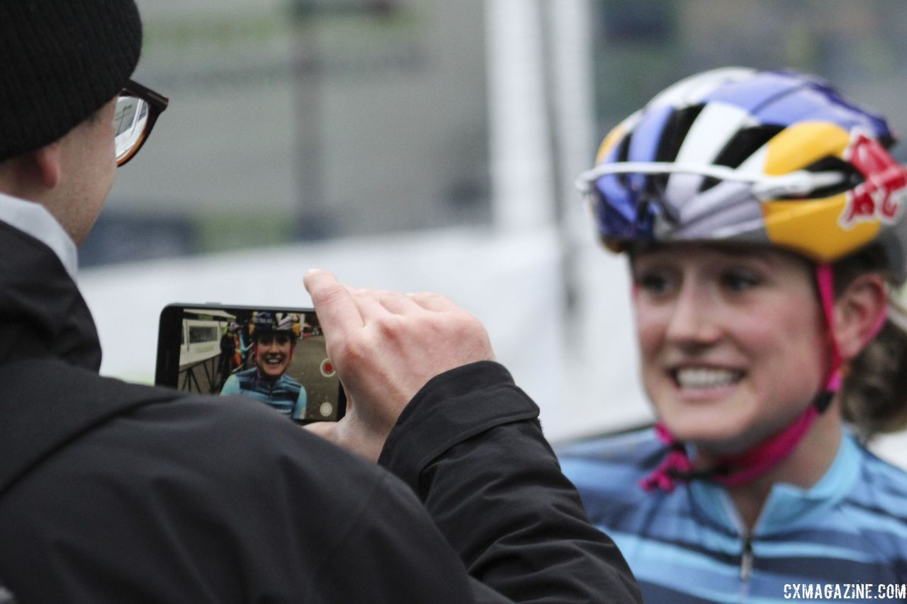 Ellen Noble talks with a reporter after the race. 2018 Silver Goose Cyclocross UCI C2 © Z. Schuster / Cyclocross Magazine
