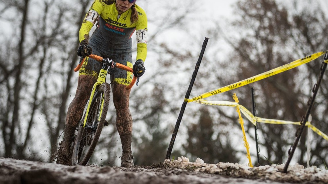Rebecca Fahringer stays focused in the messy conditions. 2018 Rockland County Supercross Cup Day 2. © Angelica Dixon