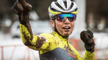 Rebecca Fahringer was muddy but happy after Sunday's race. 2018 Rockland County Supercross Cup Day 2. © Angelica Dixon