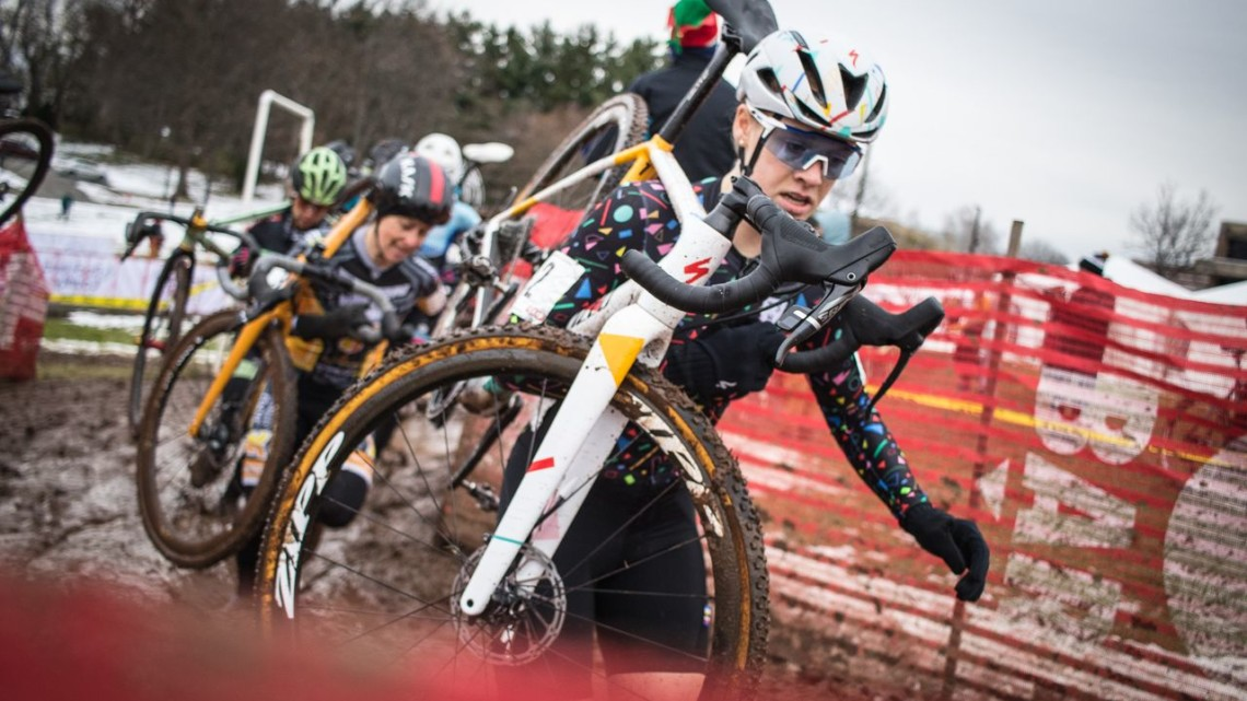 Ruby West shoulders her bike. 2018 Rockland County Supercross Cup Day 2. © Angelica Dixon