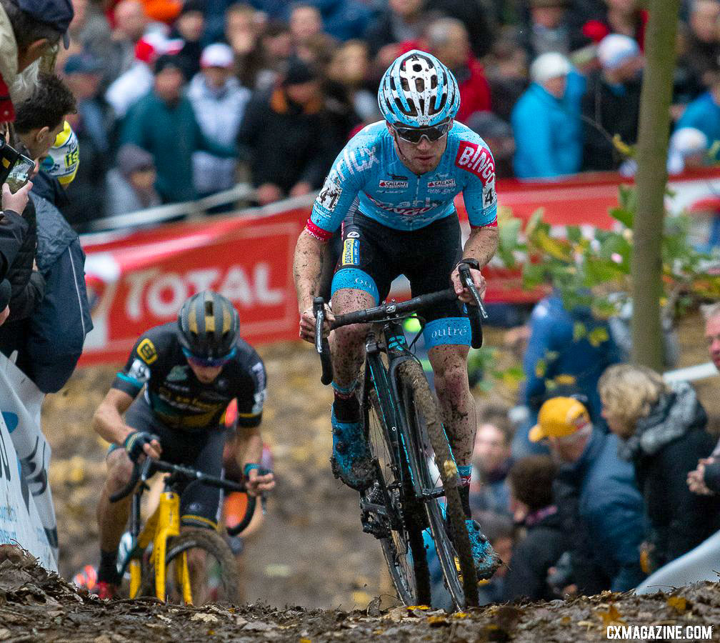 Eli Iserbyt conquers a steep climb on his Ridley X-Night SL at the 2018 Superprestige Gavere race. © A. Yee / Cyclocross Magazine