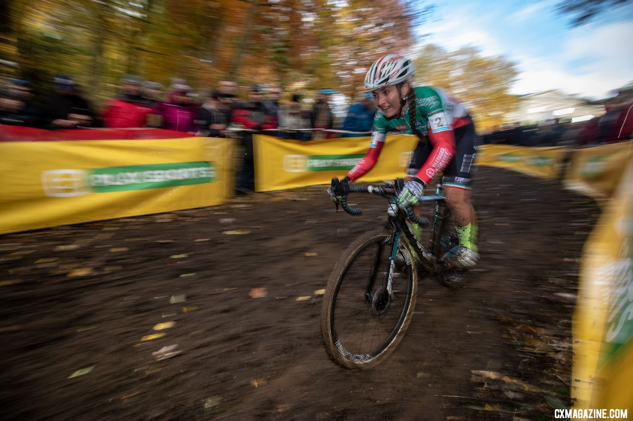Eva Lechner flew Italy's colors to make it two Italians in the top six. 2018 Superprestige Gavere Women. © A. Yee / Cyclocross Magazine