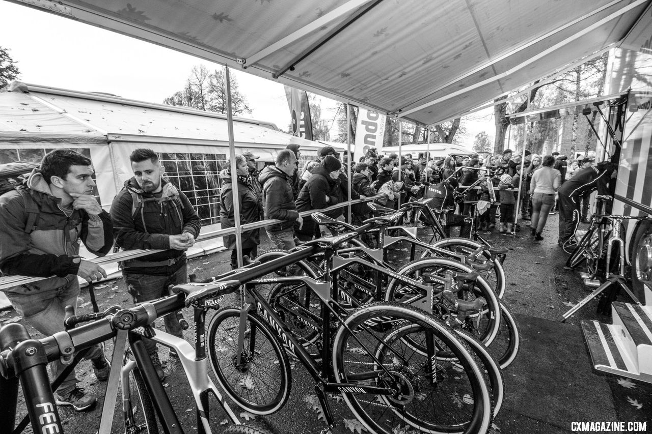 The Van der Poel family, their bikes and their fans command the biggest presence at the Superprestige Gavere. © A. Yee / Cyclocross Magazine