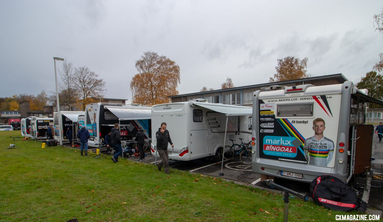 Marlux Bingoal is one of the biggest teams in Europe, and just its Elite riders brought six campers. 2018 Superprestige Gavere Men. © A. Yee / Cyclocross Magazine