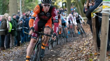 Laurens Sweeck took up the chase of Van der Poel but did not finish the race. 2018 Superprestige Gavere Men. © A. Yee / Cyclocross Magazine