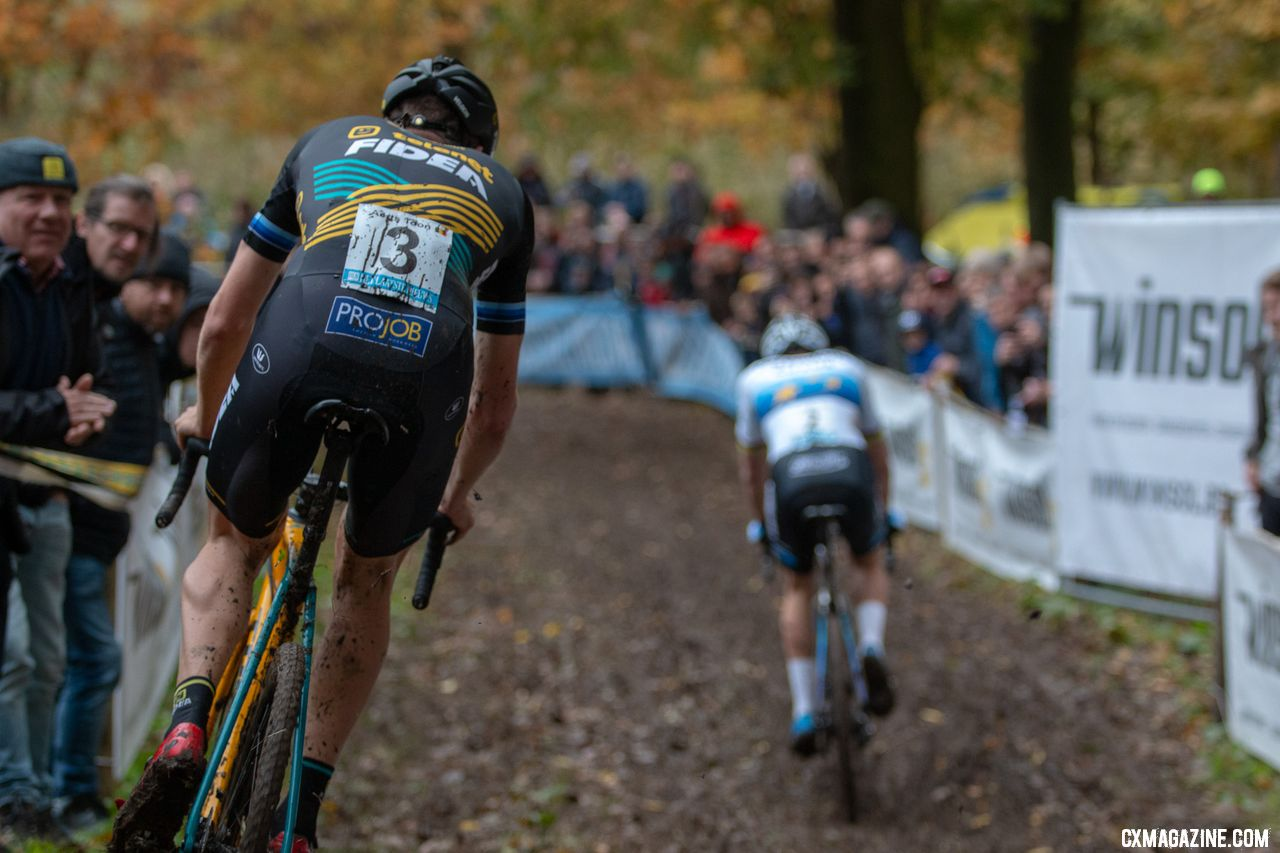 From the gun, Toon Aerts was the only one to keep Mathieu van der Poel within reach for a few laps. 2018 Superprestige Gavere Men. © A. Yee / Cyclocross Magazine