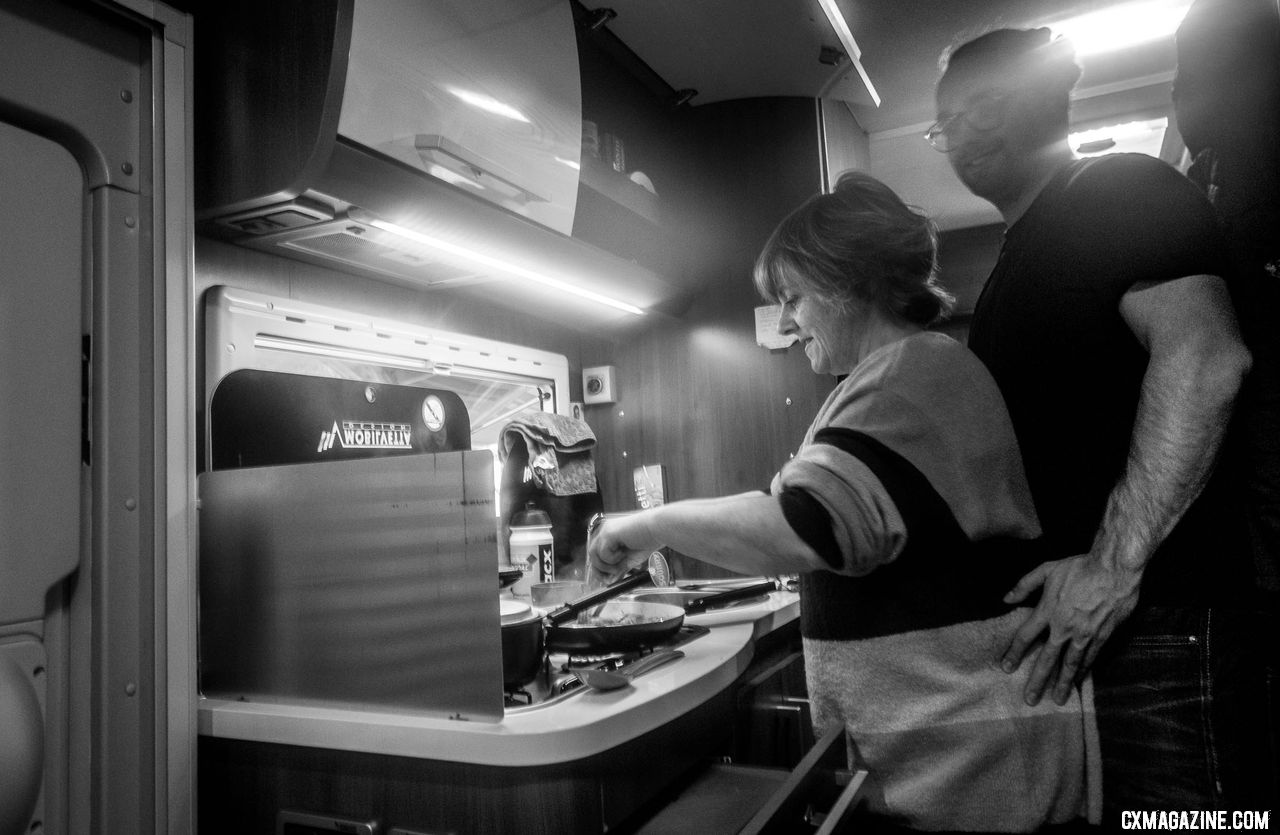 European cyclocross is a family affair. Eli Iserbyt's mom cooks a pre-race meal while brother Oliver helps out. 2018 Superprestige Gavere. © A. Yee / Cyclocross Magazine