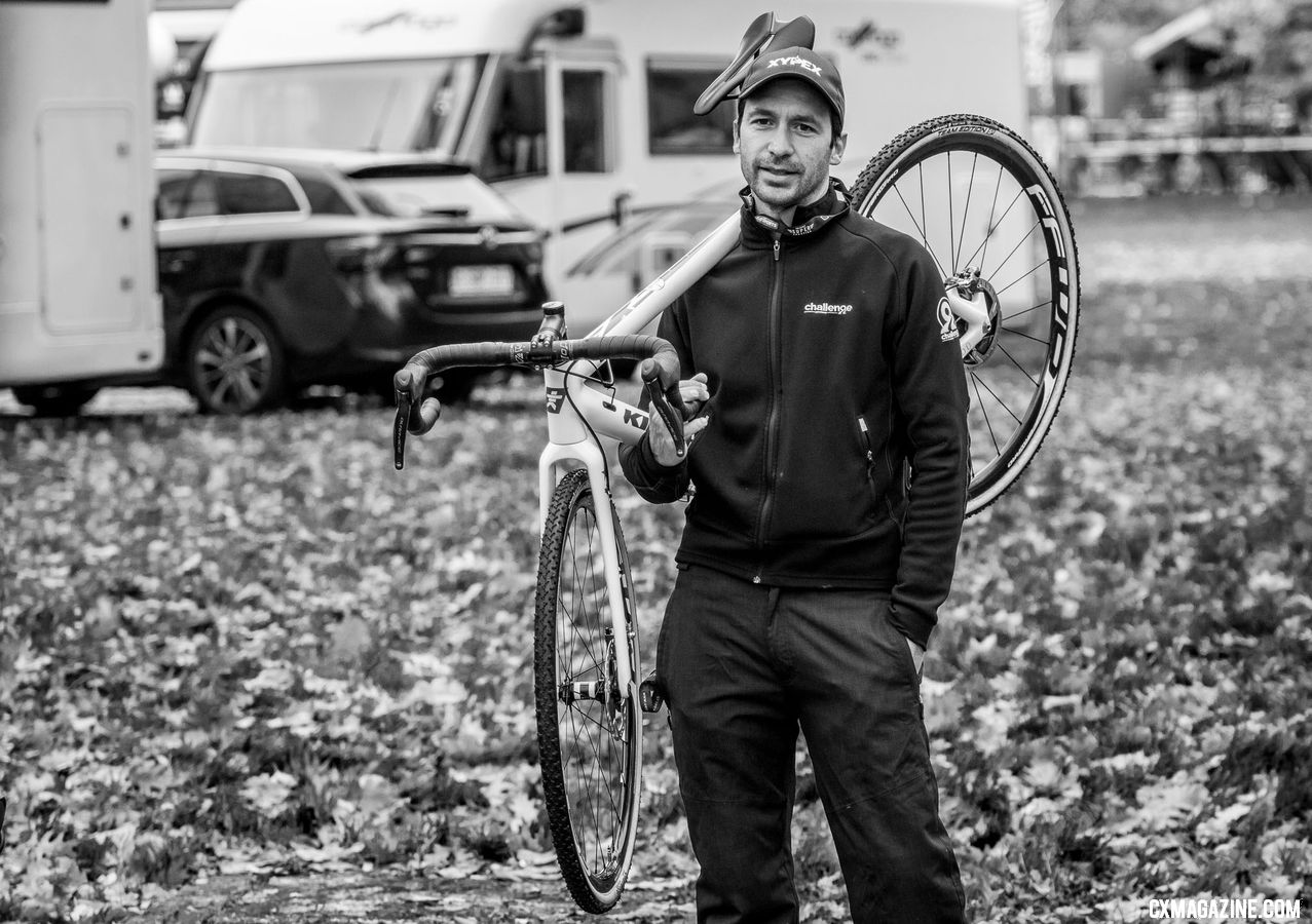 Stef Wyman is looking forward to the upcoming driving, for sure. 2018 Superprestige Gavere. © A. Yee / Cyclocross Magazine