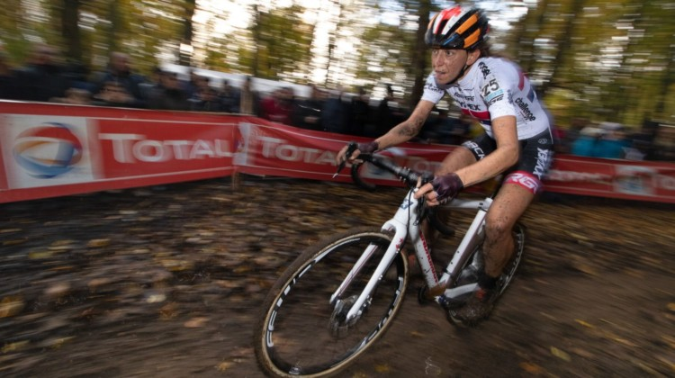 Helen Wyman had a strong last lap to finish fifth. 2018 Superprestige Gavere. © A. Yee / Cyclocross Magazine