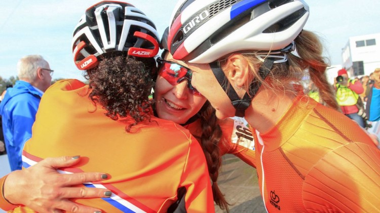 The Dutch U23 women celebrate their podium sweep. 2018 European Cyclocross Championships, Rosmalen, Netherlands. © B. Hazen / Cyclocross Magazine