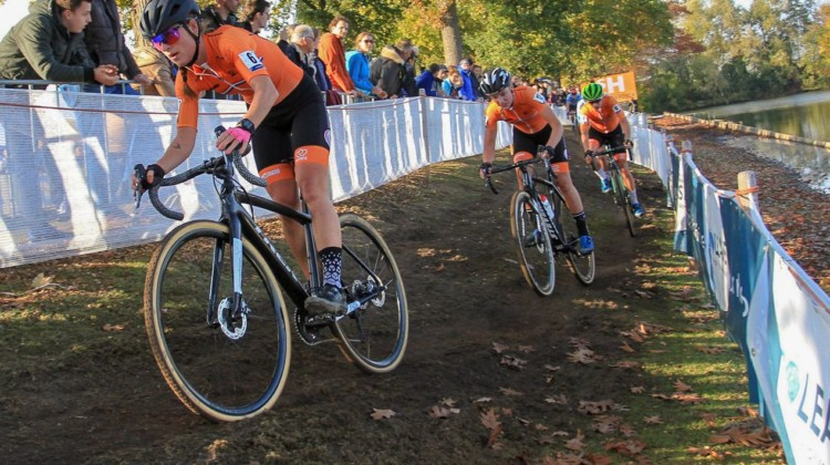 Denise Betsema leads the Dutch at the front of the race with Worst and Vos chasing. 2018 European Cyclocross Championships, Rosmalen, Netherlands. © B. Hazen / Cyclocross Magazine