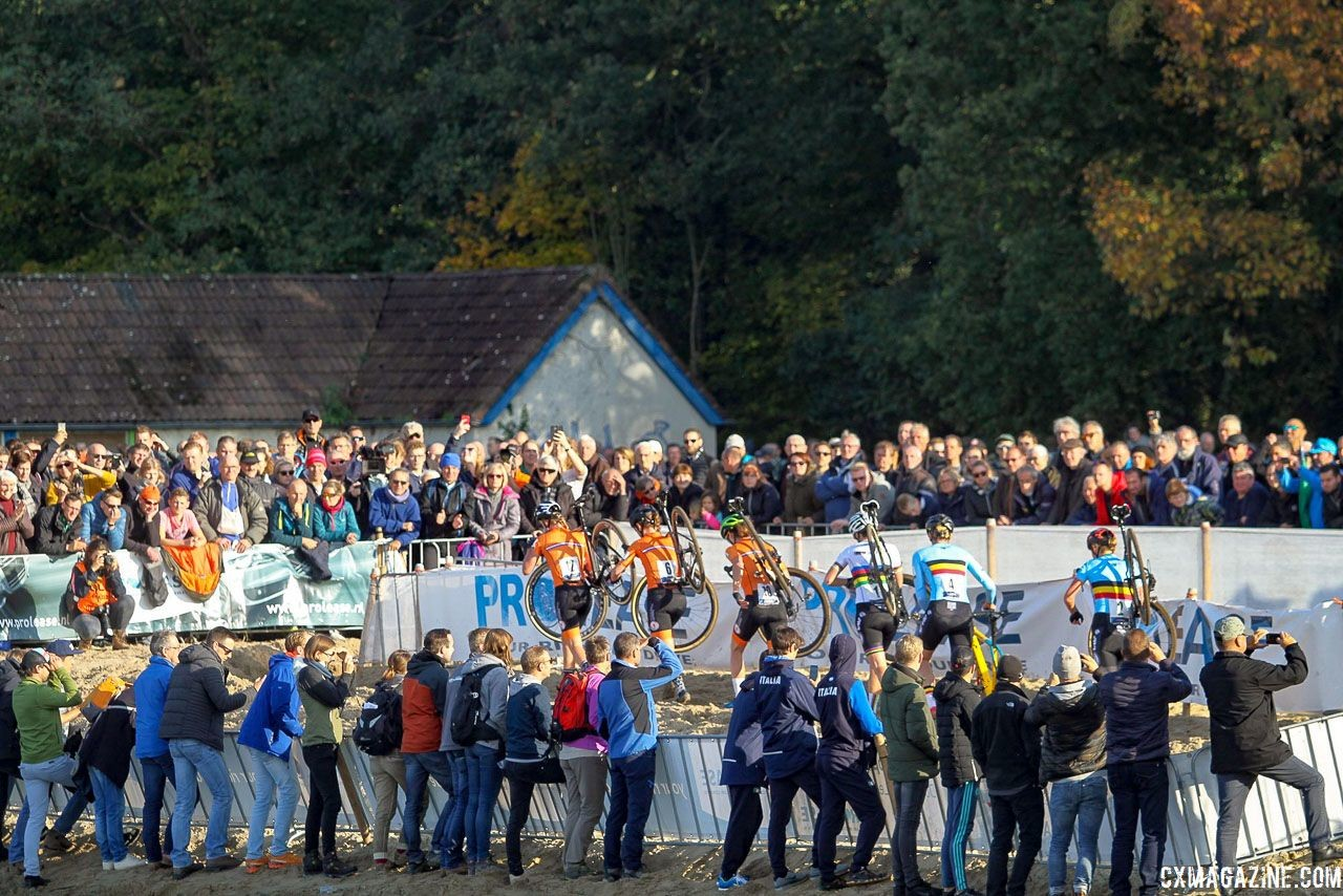 The Belgians found themselves behind the Dutch early in the race and in the final results. 2018 European Cyclocross Championships, Rosmalen, Netherlands. © B. Hazen / Cyclocross Magazine