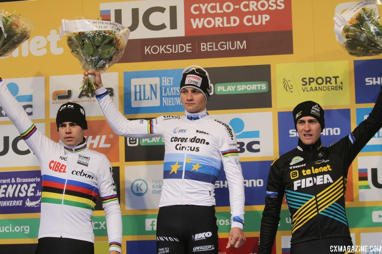 Men's podium: Mathieu van der Poel, Wout van Aert and Toon Aerts. 2018 World Cup Koksijde. © B. Hazen / Cyclocross Magazine