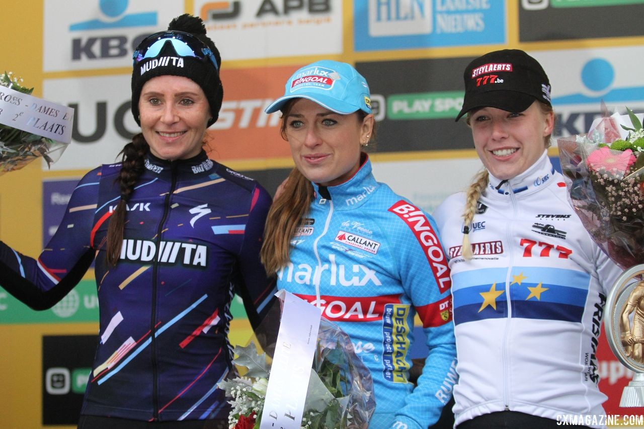 Women's Podium: Denise Betsema, Nikki Brammeier and Annemarie Worst. 2018 World Cup Koksijde. © B. Hazen / Cyclocross Magazine