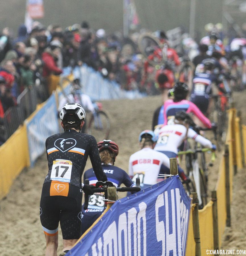 Corey Coogan Cisek hops on the running train. 2018 World Cup Koksijde. © B. Hazen / Cyclocross Magazine