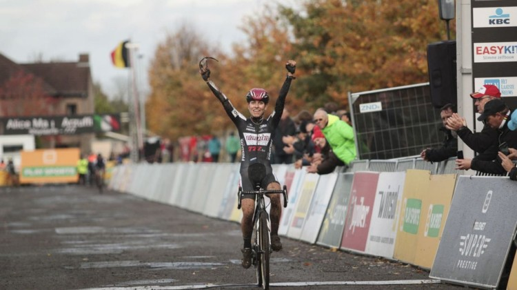 Alice Maria Arzuffi celebrates her first career Superprestige win. 2018 Superprestige Gavere. © A. Yee / Cyclocross Magazine