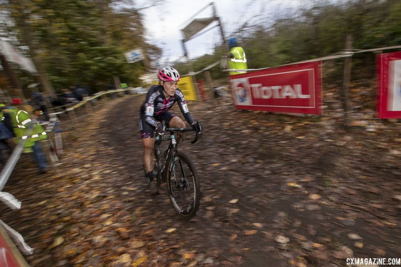 Elle Anderson finished 19th on Sunday. 2018 Superprestige Gavere. © A. Yee / Cyclocross Magazine