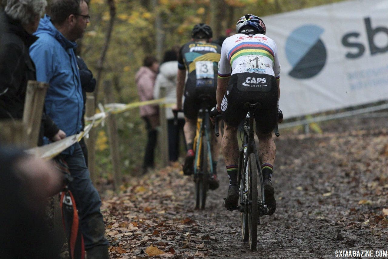 Aerts and Van Aert were left fighting for second. 2018 Superprestige Gavere. © A. Yee / Cyclocross Magazine