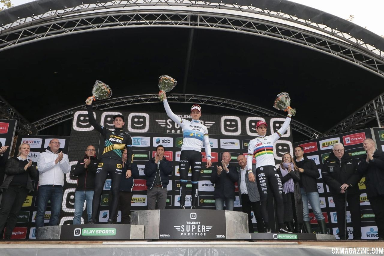 Men's podium: Mathieu van der Poel, Toon Aerts and Wout van Aert. 2018 Superprestige Gavere. © A. Yee / Cyclocross Magazine