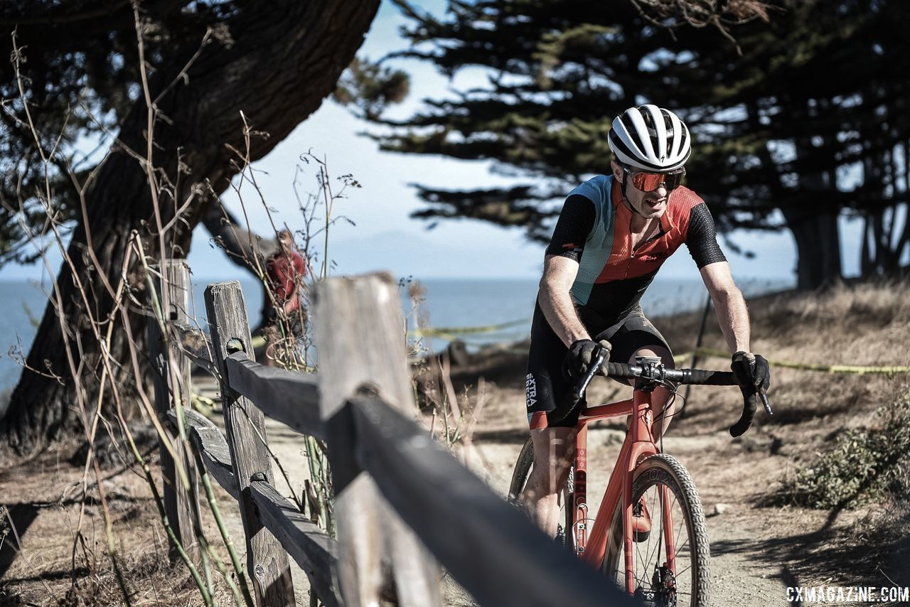 Riders got a nice view of the Pacific Ocean during their races, not that they had much time to enjoy the beauty. 2018 Coyote Point Cyclocross Race 1, San Mateo, California. © J. Vander Stucken / Cyclocross Magazine