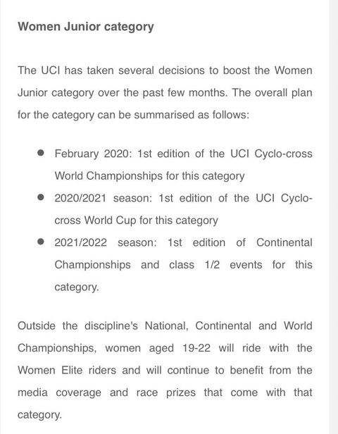 UCI Newsletter excerpt re: Junior Women