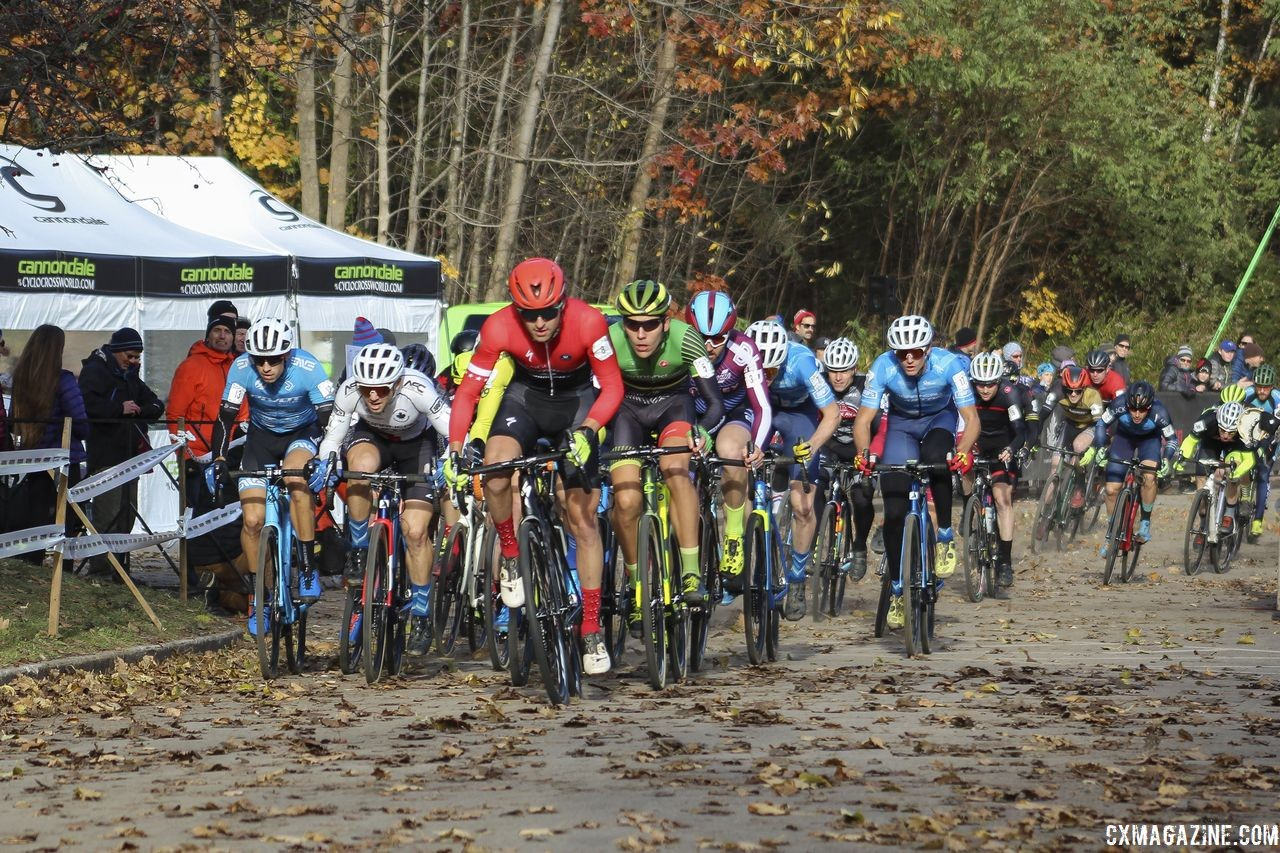 Cody Kaiser leads the way through the holeshot. 2018 Pan-American Cyclocross Championships, Midland, Ontario. © Z. Schuster / Cyclocross Magazine