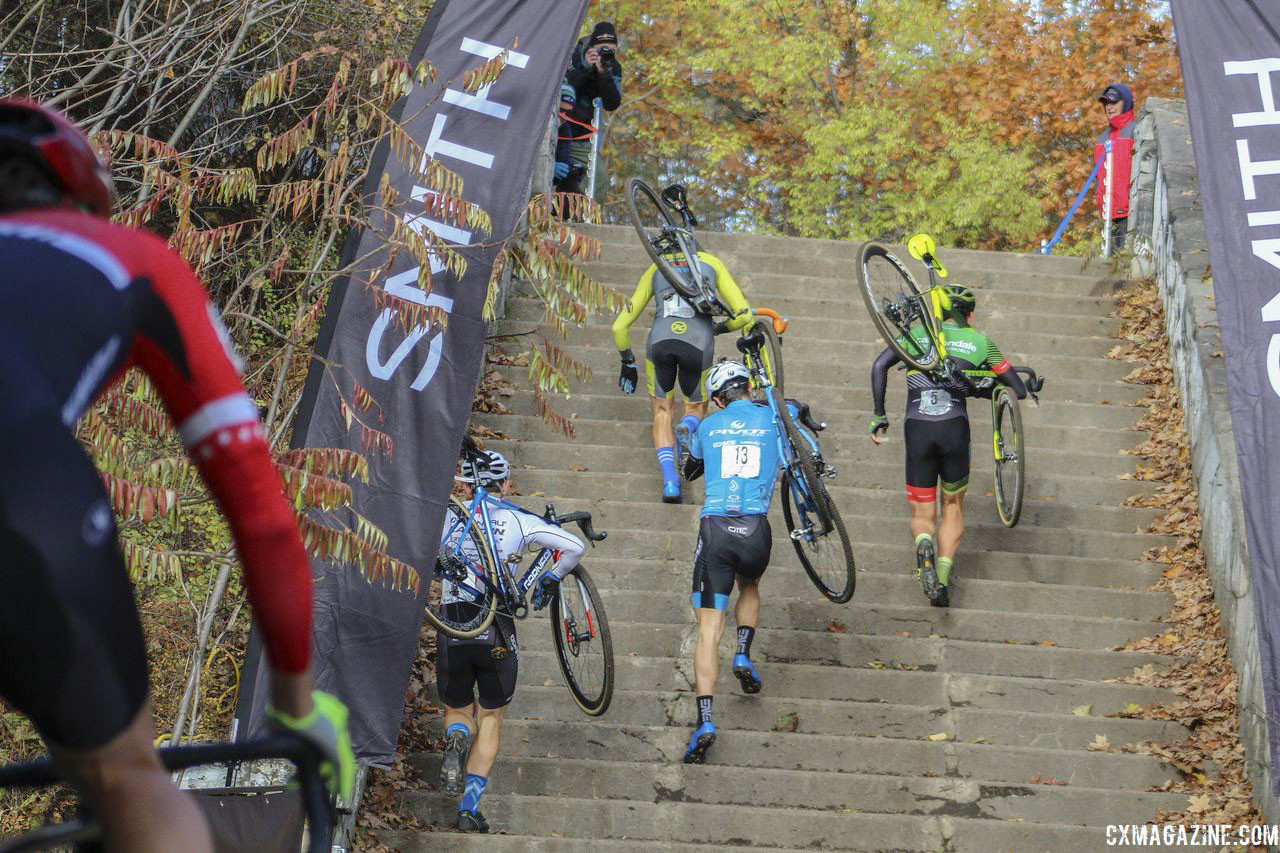 Race leaders head up the stairs as others chase. 2018 Pan-American Cyclocross Championships, Midland, Ontario. © Z. Schuster / Cyclocross Magazine